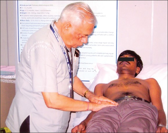 Figure 3: Dr. Tandon seen examining a patient during a postgraduate teaching session. This picture has been kindly provided by Dr. GN Prasad from Chennai