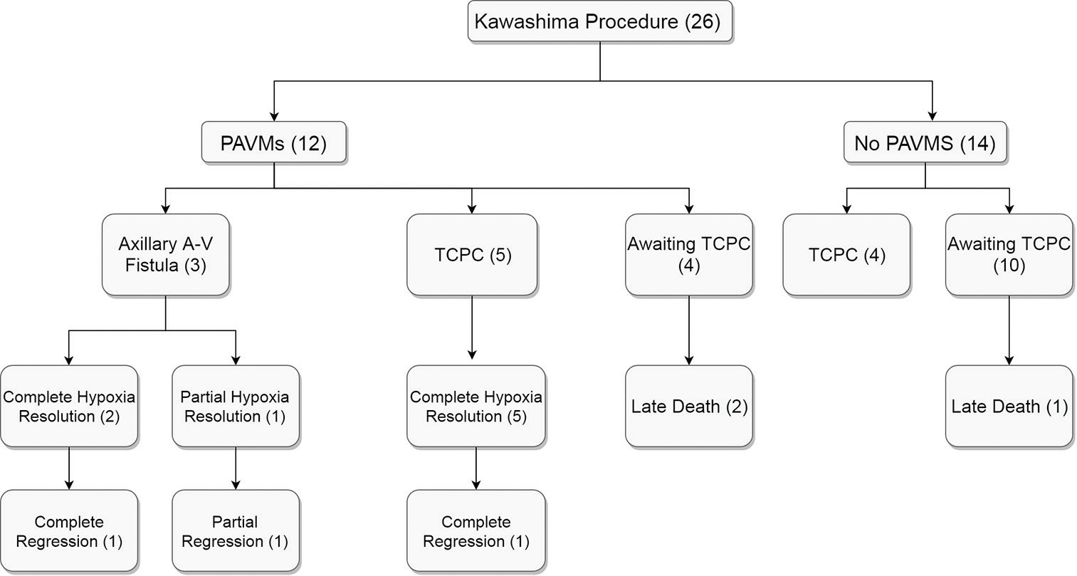 Figure 2: Outcome of patients after Kawashima procedure